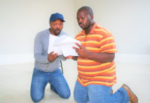 PANSA n rehearsal for Pieces of an African Drum - L-R Anele Penny and, Xolani Nges