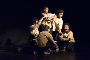 Grace Barns, Rachel Makatile, Nomathamsanqu Mhllakaza, Dimakatso Motholo and Tanna Rahme preforming in the production of The Village, for the National Arts Festival on 1 July 2016 in The Rehearsal Room, 1820 Settlers Monument, Grahamstown, South Africa. The Village was directed by Sarah Nansubuga. (Photo: CuePix:Megan Moore)