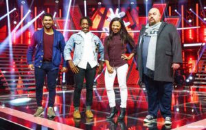Kahn Morbee's team of Craig Lucas (24), Freddy Lalendle (23), Zee Gqamana (23) and Fatman (40) The Voice SA