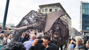 A Handspring Puppet delights the crowd. Picture: Jane Mayne