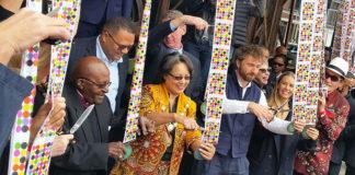 Jochen Zeitz, Archbishop Tutu, Patrica De Lille, Thomas Heatherwick, Albie Sachs at The Zeitz Museum of Contemporary Art Africa (Zeitz MOCAA) opening launch, September 2017. Picture: Jane Mayne