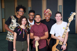 From UCT SA College of Music are (back) Timothy Fortes Drums, Bongo Masola trumpet, Anathi Mobo vocals, (front) Rouzanna Coxson piano, Ryan Truter guitar, Luke Verrezen bass