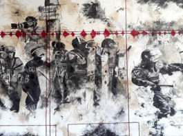 Riaan van Zyl, News 2018. Oil, old car oil, anthracite, charcoal and pastel on canvas