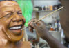 Lungelo Gumede waxwork sculptor has created a series of sculptures of Nelson Mandela the South African President from his youth, his presidency and retirement.