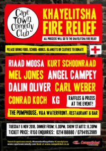 Khayelitsha Fire Relief Comedy Fundraiser by The Cape Town Comedy Club
