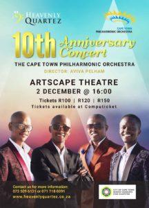 Heavenly Quartez 10th Anniversary Concert tickets - Cape Town Philharmonic Orchestra at Artscape Theatre. Heavenly Quartez features Nkumbuzo Nkonyana, Mawande Mxunyelwa, Melikhaya (Melly) Ndabeni and Sihle Mtitshana
