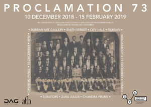 The Proclamation 73 exhibition is curated by Zara Julius and Chandra Frank