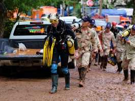 British cave-diver John Volanthen walks out from Tham Luang Nang Non cave in Chiang Rai, Thailand. Picture: Linh Pham/Getty Images