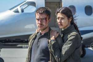 Joe Dempsie as Harry Clarke and Karima McAdams as Leyla Toumi in Deep State Season 2