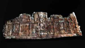 Graphic reconstruction of an ancient frieze at the site of Holmul on Lost Treasures of the Maya Nat Geo.