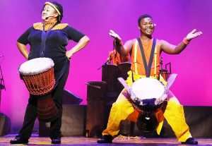 Mpho Rasenyalo and Sabelo Mgaga in Drumstruck. Picture: Curtis Bilbun