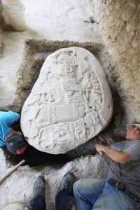 La Corona, Peten District, Guatemala - Carvings on a nearly 1500 year-old Maya altar, showing a local King believed to have played a key role in the rise of a Maya dynasty known as the Snake Kings. Picture: National Geographic/Arthur Haynes