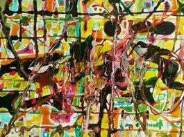 Yoko Reijn painting 2018 Stained Away mixed media paper A3 Baardskeerdersbos Art Route