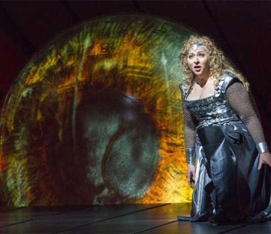 Soprano Christine Goerke, as Brünnhilde the Valkyrie warrior, at a dress rehearsal for Wagner's Die Walküre at New York's Metropolitan Opera. Richard Termine/Met Oper