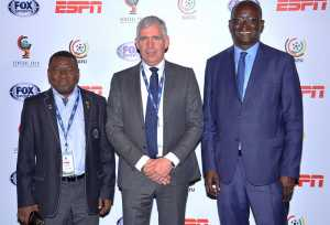 Prpepare for the Cup of Nations tournament - Col. Hamidou Djibrilla Hima, Mr. Frank Rutten and Mr. Augustin Senghor at the official draw for the West African Football Union WAFU Cup of Nations