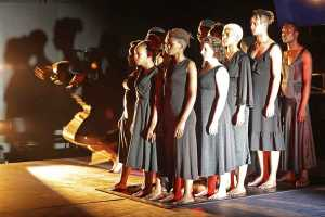 Magnet Theatre Alumni and Trainees perform pieces from Antigone. Picture: Mark Wessels