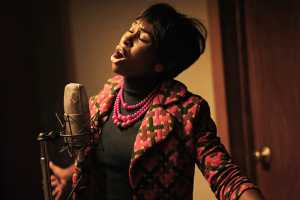 Aretha Franklin, played by Cynthia Erivo, recording at Fame Studios in Muscle Shoals, AL. Picture: National Geographic/Richard DuCree