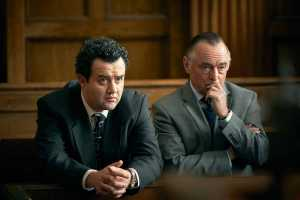 Des Episode 3, Daniel Mays as DCI Peter Jay and Ron Cook DCS Geoff Chambers in DES on BritBox